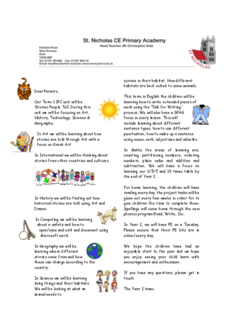 Year 2 Curriculum Letter