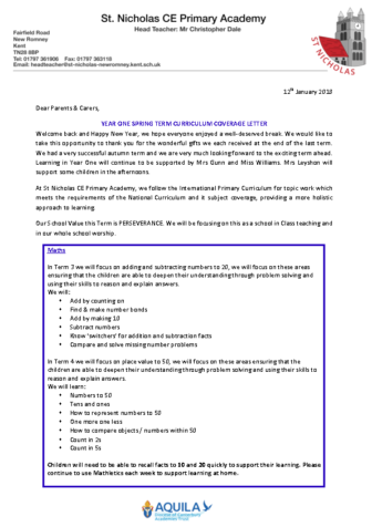 curriculum letter year 1 term 3