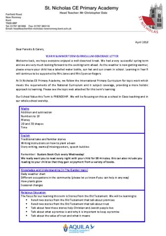 year R curriculum letter Term 5