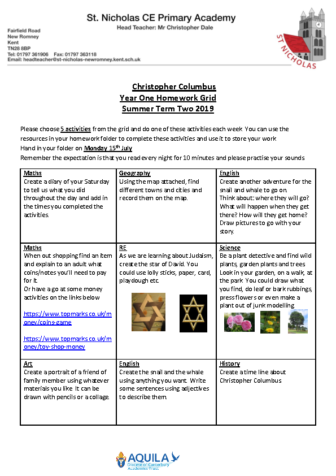 homework grid Term 6