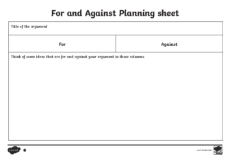 For and Against Planning Sheet