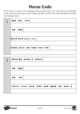'Code-Cracking for Beginners' Morse Code Worksheet
